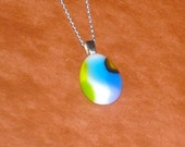 Blues Multicolor Fused Glass Petite Pendant with Sterling Silver Necklace
