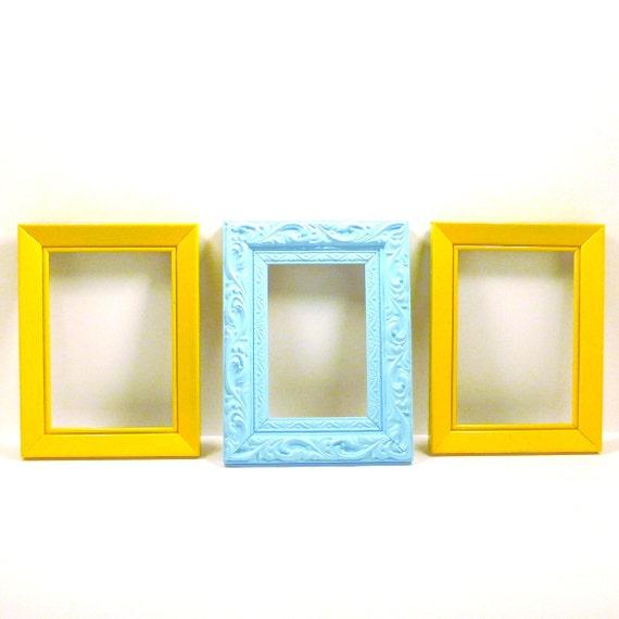 bright frame set, painted frames, yellow, aqua, picture frames, retro colors, upcycled frame set, modern home decor, california