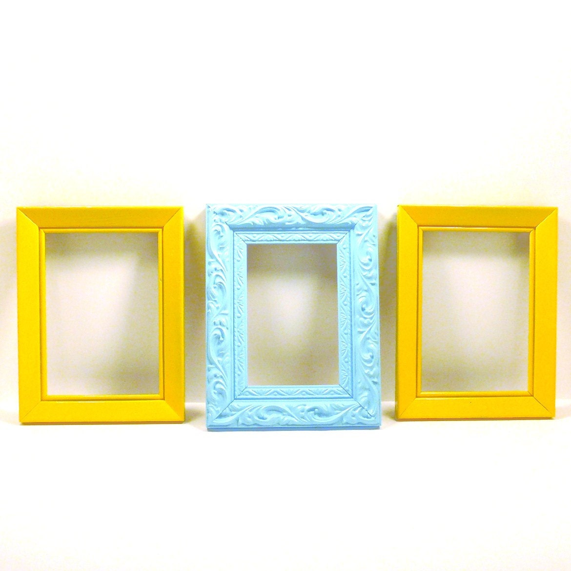 bright frame set painted frames yellow aqua picture by nashpop
