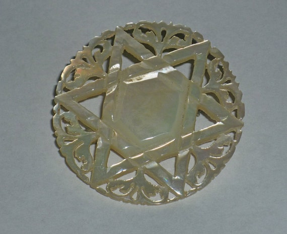 Judaica vintage faux mother-of-pearl carved Star of David brooch