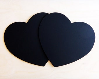 2 CHALKBOARD Large HEARTS Rustic Wedding Decor or Photo Booth Props Engagement Props Save the Date Chalk Board Signs Valentine Hearts Set