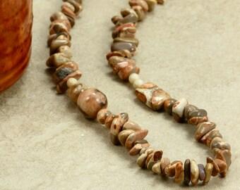 Long Safari Jasper Necklace, Strand Necklace, Chunky Necklace, Tan Necklace, Long Jasper Necklace