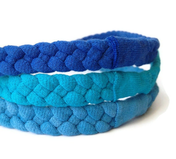 Upcycled Cotton Tshirt Headbands - 3 Pack in Blue/Teal - EcoFriendly Handmade Tshirt Yarn - Winter Accessories