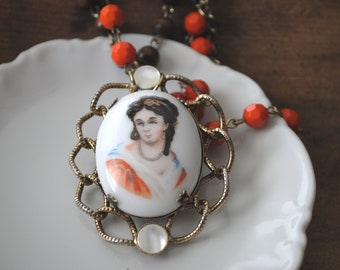 Bohemian Style Vintage Brooch Necklace Orange and Brown