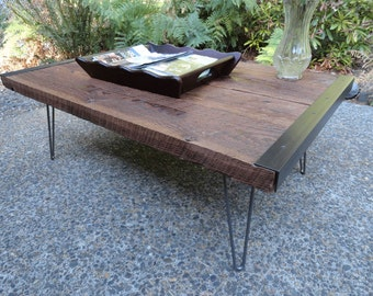 Old Barnwood Industrial Coffee Table with hairpin legs, Reclaimed wood, Character, Customizable