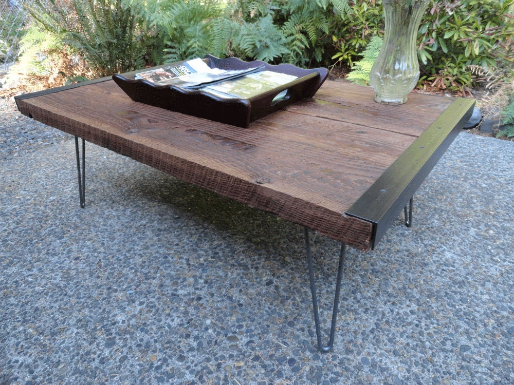 Old Barnwood Industrial Coffee Table With By Mthoodwoodworks