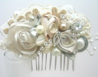 Bridal Hair Comb- Wedding Hair Piece-Vintage Inspired Hair Accessory-Wedding Hair Accessories- Floral Hairpiece- Brass Boheme- Ready to ship