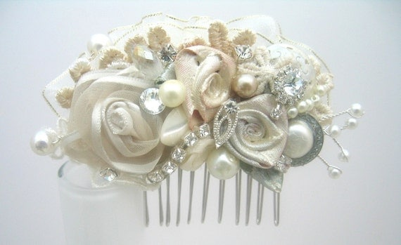 Vintage Inspired Ivory Bridal Hair Clip- Lace & Floral Wedding Hair Piece- Wedding Hair Accessories- Statement Hairclip- Brass Boheme