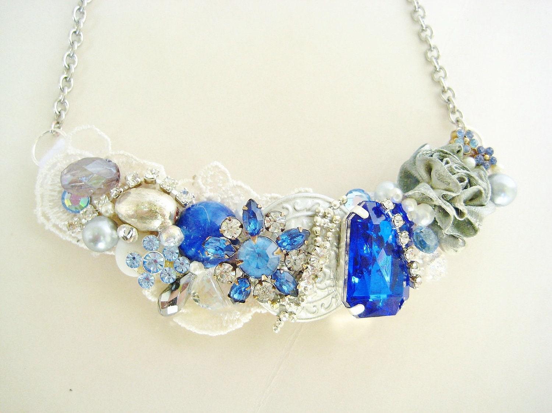 sapphire blue statement necklace cobalt blue bib by