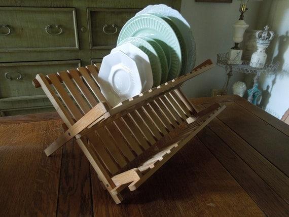 Vintage Wood Plate Rack Wood Dish Drying Rack