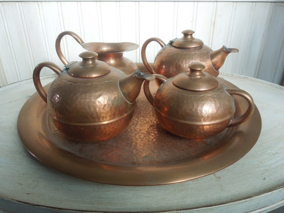 Vintage Copper Serving Set Copper Tea Set Recuerdo By