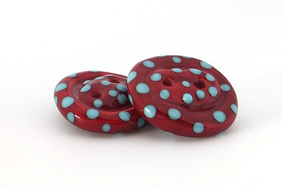 Lampwork Glass Buttons - pair of red with turquoise spots