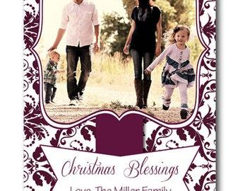 Custom Photo Plum Purple Damask Holiday Christmas Blessing Card  - You Print