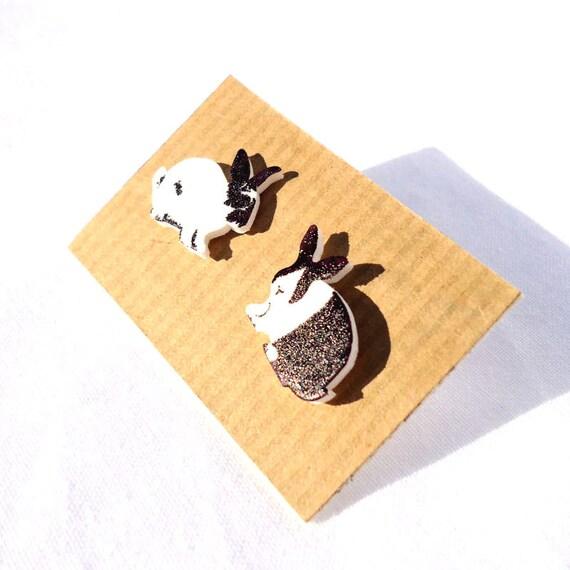 Rabbit Earrings Hand drawn