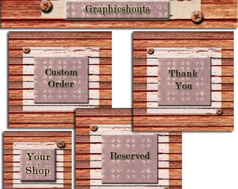 Etsy Shop Banner Set - Banners and Avatars - Boutique Dark  Rustic Wooden Tile Effect cover banner
