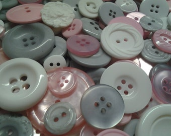 """250 Small Poodle Skirt Bulk Buttons - Pastel Pink, White and Grey Concrete, small multi sizes 1/4"""" to 5/8"""", bulk sewing and craft supply"""