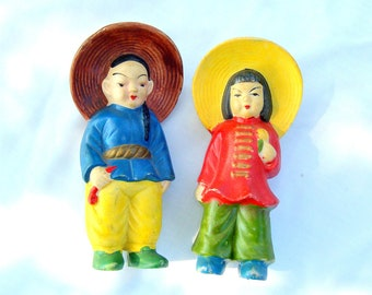 Vintage Bisque Asian Boy Girl Couple Figurines