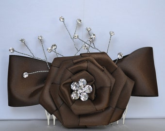 Wedding Hairpiece Brown with Crystals