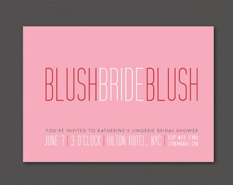 "DIY Printable ""Blushing Bride"" Bridal Shower Invitation and Matching Address Label"