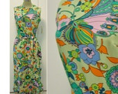 Vintage 70s Hawaiian Maxi Dress Green XS or S Butterflies & Flowers Retro Resort Luau Party by Liberty Circle