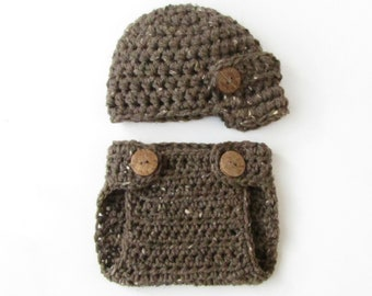 Newsboy Hat and Diaper Cover PHOTOGRAPHY PROP Set for Newborn Boys