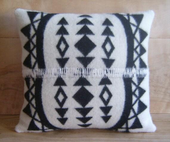 SALE Wool Throw Pillow, 15x16 ... Native, Geometric, Tribal