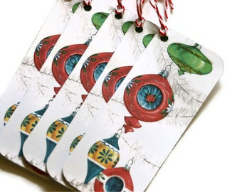 Vintage Style Christmas Tags Gift Retro Inspired Ornaments