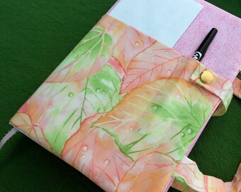 Study Bible protective cover, book purse, fabric, tote, cloth case, pastel pink peach green, batik leaves, padded, washable, cotton, youth