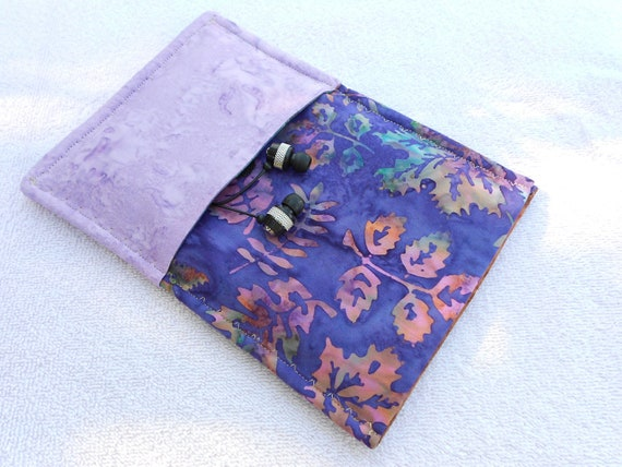 On sale now: pink and purple batik Kindle/Kobo/Sony e-reader case with 2 pockets