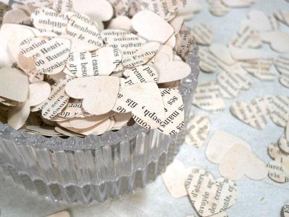 Wedding Confetti, Heart Shaped Confetti, Bridal Shower Confetti, Reception Decor, Vintage Paper Confetti Made from French paper