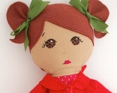 Handmade Cloth Doll Brown Hair and eyes with removable outfit My Gigi Doll