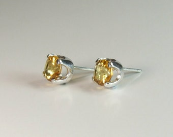 Golden Citrine, 6mm Round Cut, Sterling Silver Post Earrings