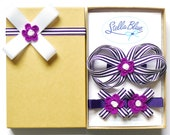 Girls hair bow gift set, BERRY STRIPE
