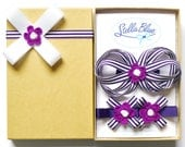Girls hair bow and hair clip gift set, BERRY STRIPE