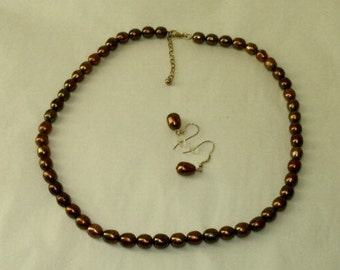 Brown Pearl Necklace Earrings 925 Sterling Silver Set Bronze Chocolate Pearls