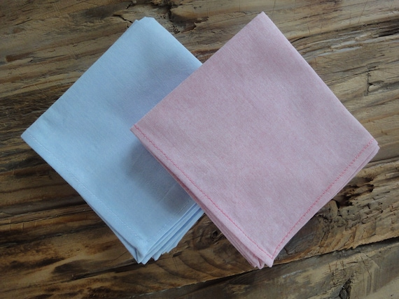 Set of Hot Pink Pima Cotton Chambray and Light Blue Sunwashed Chambray Pocket Squares