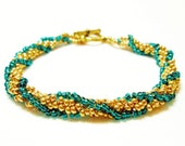 Gold and Green African Helix Bracelet