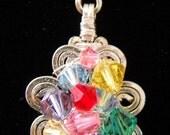 Rainbow flower Swarovski Crystals wrapped necklace
