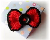 Crochet Brooch - Crochet Red Bow - Brooch - Tie Pin - Hair Accessory with Black Button