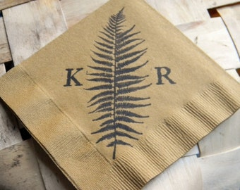 Golden Brown Fern Frond Personalized Wedding Cocktail Napkins with Large Couples Initials - Set of 50