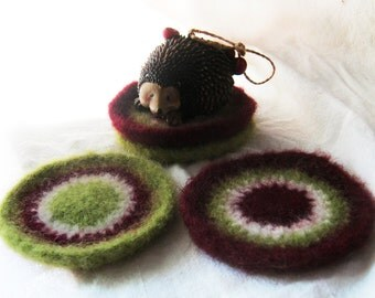 Holiday Dots Round Wool Coasters, Set of 4 - Burgundy Red Lime Green Ivory White - felted crochet- Christmas Decor Gift