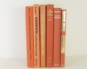 CREAMSICLE  VIntage Decorative Books, Wedding Table Setting Decor, Interior Design, Instant Library FIller, Photography Prop, Orange