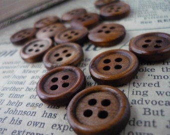 30 pcs Dark Wood Buttons 15mm (WB695)