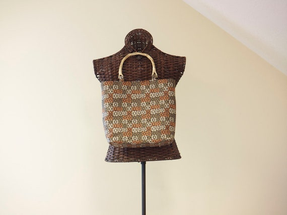SALE Small Medium Tote Upholstery Handbag Bamboo Handles