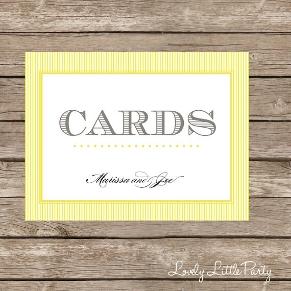 Printable Striped CARDS sign  - You Choose Color - Lovely Little Party