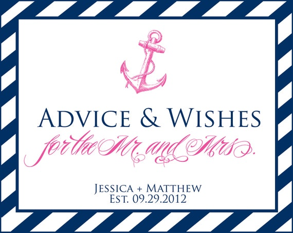 Printable Personalized Nautical Advice & Wishes sign  - You Choose Color - Lovely Little Party