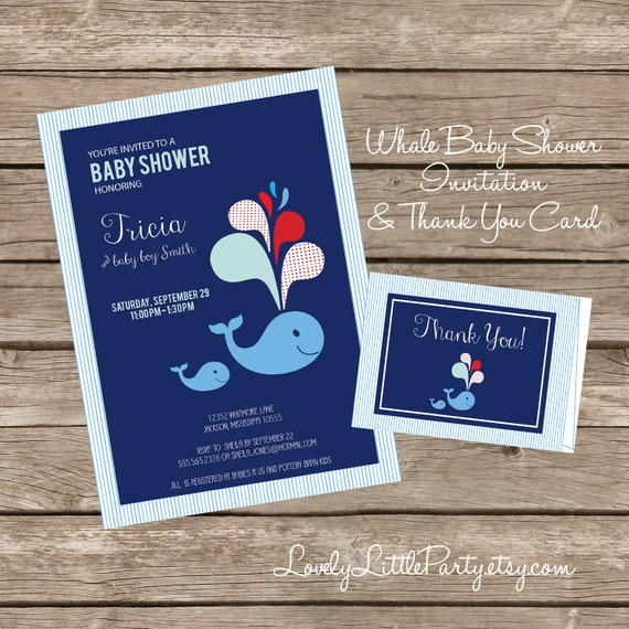 DIY Printable Whale Themed Baby Shower Invitation AND Thank You Card - Lovely Little Party