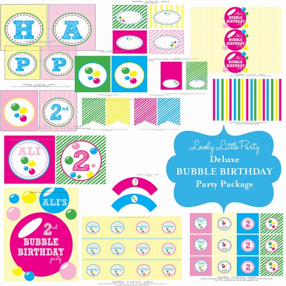 Personalized Printable Bubble  Birthday Package - LOVELY LITTLE PARTY
