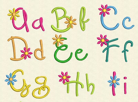 40% off!  Flower Alphabet Machine Embroidery Design AL003