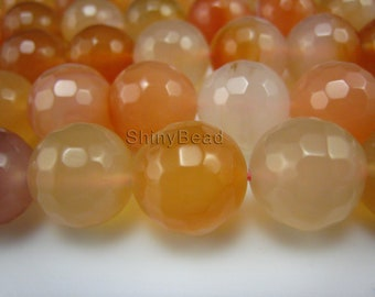 sunset color  natural agate facted round bead 14mm 15 inch strand